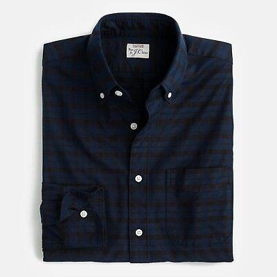 New J Crew American Cotton Oxford Slim Shirt Button Down Contrast Plaid Navy NWT