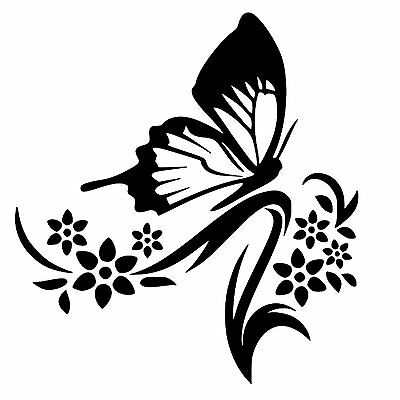 Butterfly And Flowers Removable Vinyl Wall Art Decal Sticker Decor ()