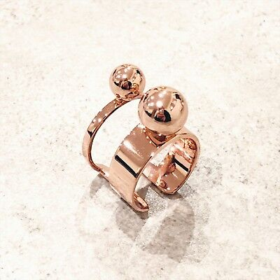 Like New! 100% Authentic Joomi Lim Double Rose Gold Sphere Adjustable Ring