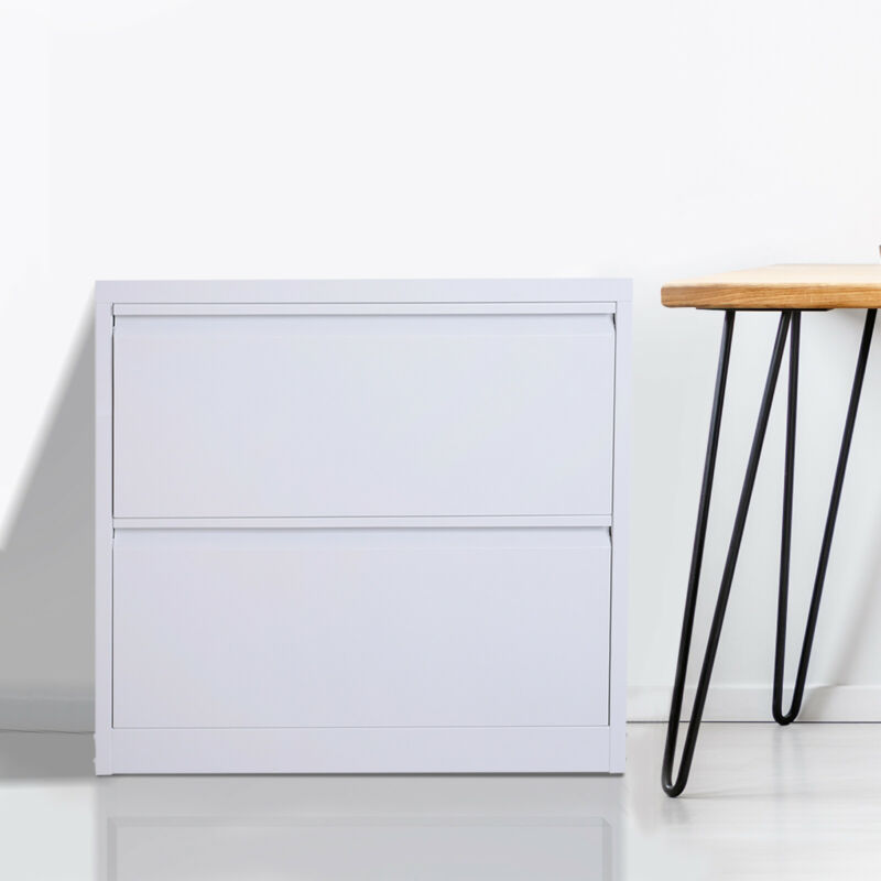 "30"" 2 Drawer Modern Document Storage Filing Cabinet Furniture Grey Steel Metal"