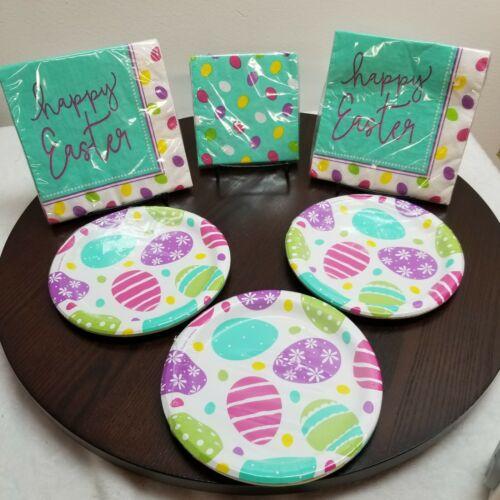 Easter Paper Plates Napkins Party Set Eggs Blue Multicolor