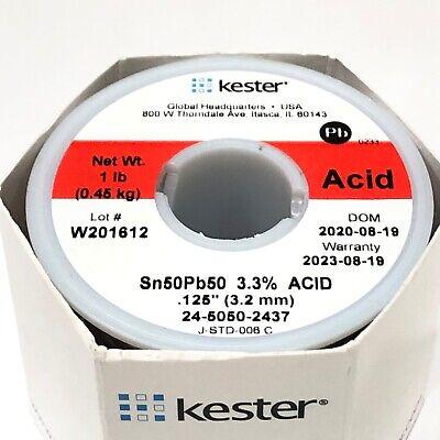 Kester Solder Wire 1 Lb 5050 Lead Sn50pb50 .125 3.3 Acid Core 24-5050-2437