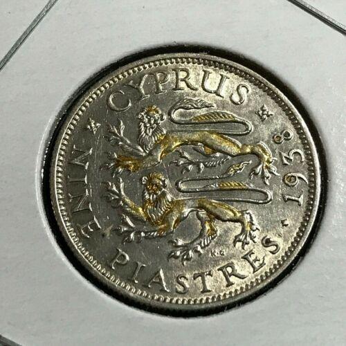 1938 CYPRUS SILVER 9 PIASTRES NEAR UNCIRCULATED COIN