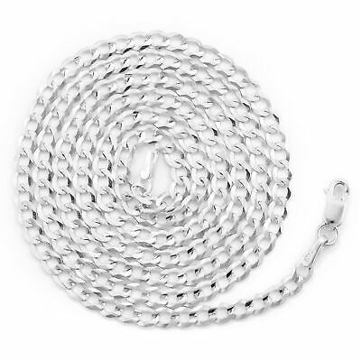 """10K Solid White Gold Mens Womens 3mm Curb Cuban Chain Link Pendant Necklace 22"""" 10"""