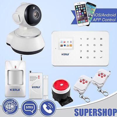 KERUI G18 GSM SMS Wireless Home Alarm System+APP Control+720P WiFi IP Camera