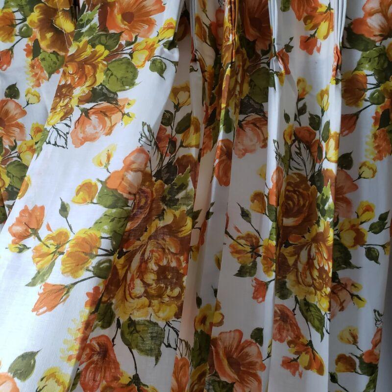 Vintage MCM Retro Floral Pinch Pleat Curtain & Valance SET Fashion Manor 4PC SET