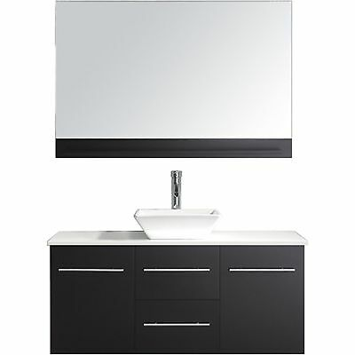 "Marsala 48"" Single Vessel Bathroom Vanity Cabinet ESPRESSO/White Stone/Mirror"