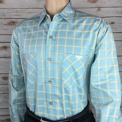 Echo Unlimited Men S Blue Checks Button Down Casual Shirt Xl 100  Cotton