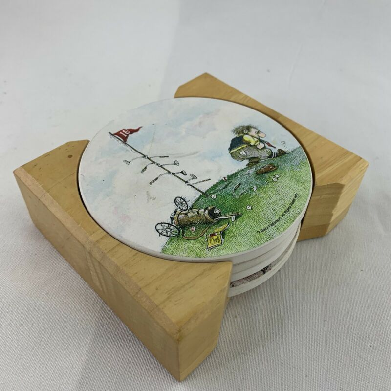 Gary Patterson Golf Coasters With Wood Rack Stoneware Set Of 4