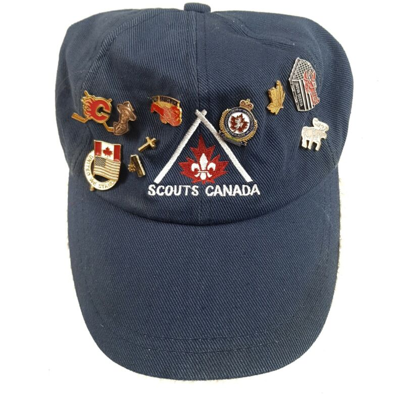Scouts Canada Baseball Cap Boys Adjustable Hat Misc Pins Baden Powell Founder