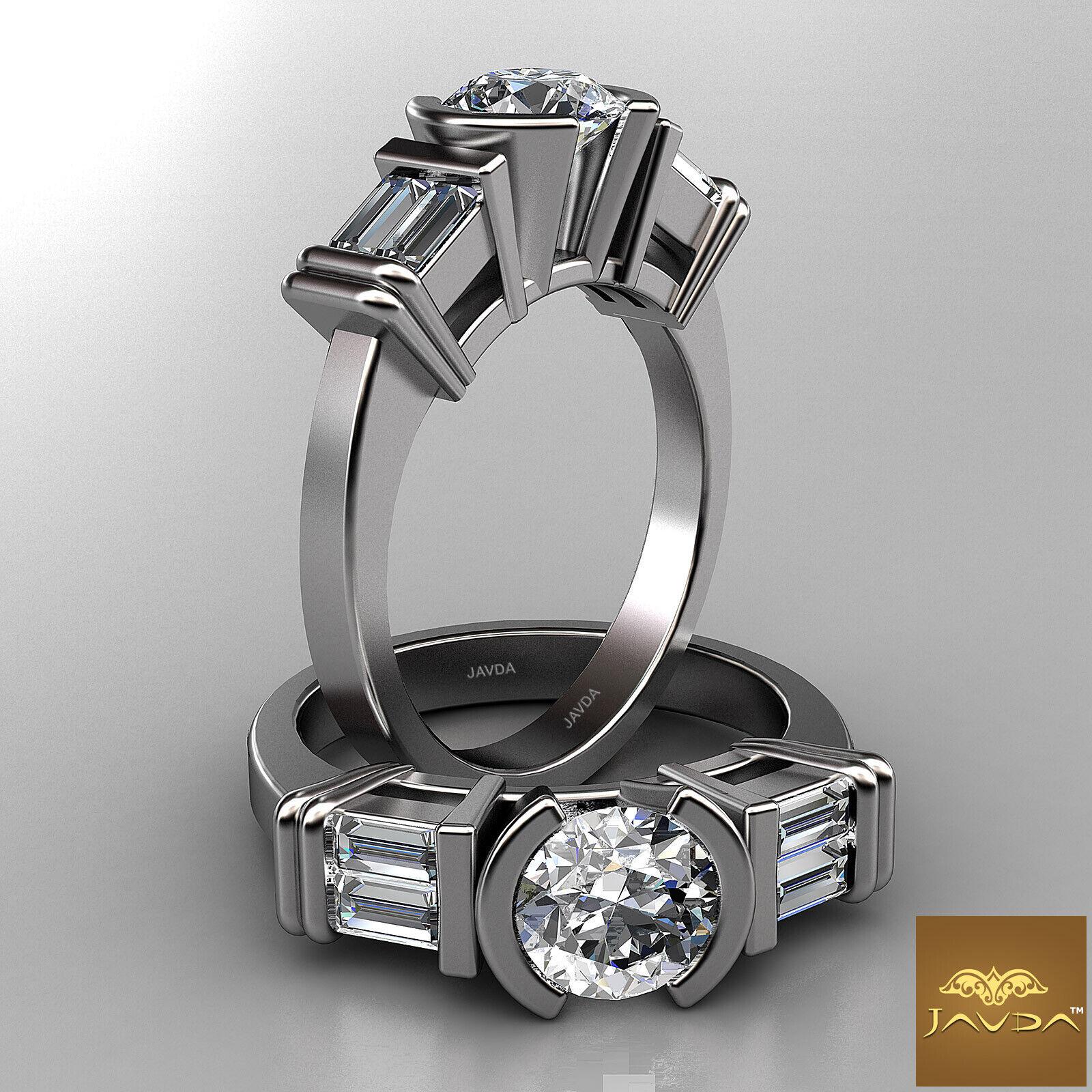 Platinum 1.9ct Round Shape Baguette Diamond Engagement GIA F VS2 3 Stone Ring