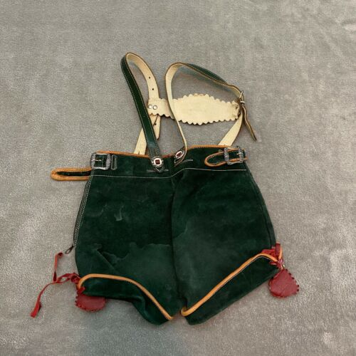 Vintage LEDERHOSEN Child Toddler's Green Leather German Shorts w/ Suspenders
