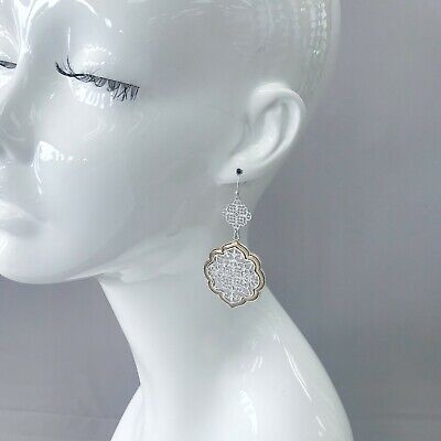 Silver Finished Gold Out Line Filigree Cut Out Double Drop Dangle Hook - Gold Filigree Cut Out