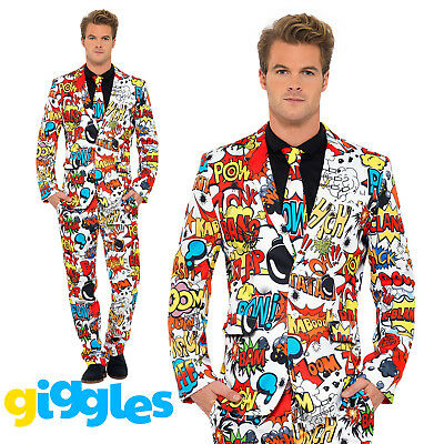Comic Book Strip Stand Out Suit Mens Adult Fancy Dress Funny Festival Costume (Funny Costumes Men)
