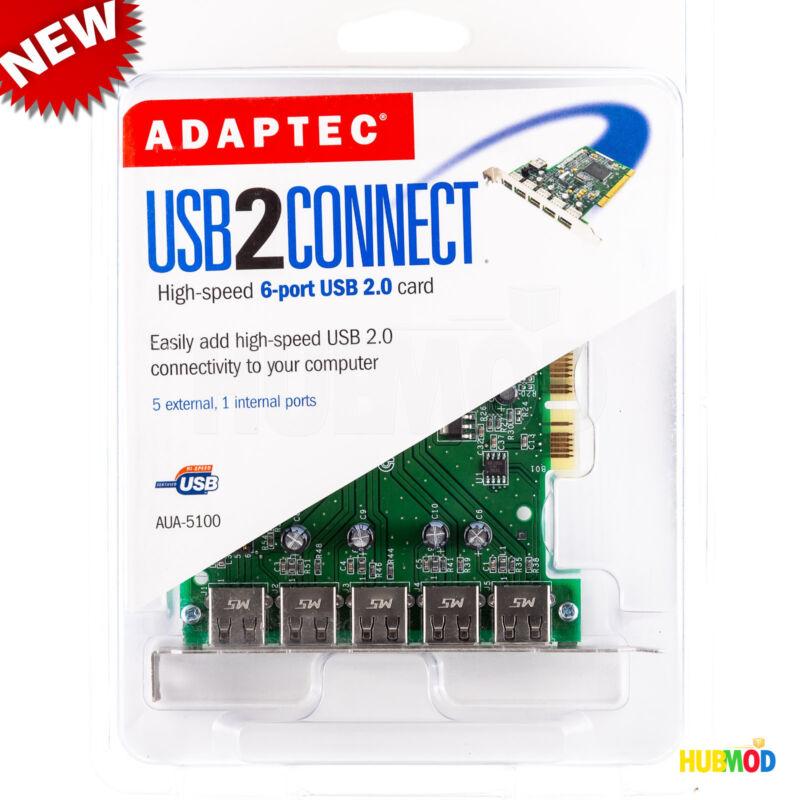 Adaptec High-Speed 6 Port USB 2.0 Expansion PCI Card AUA-5100 MAC & Windows PC