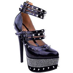 LADIES WOMENS BLACK STUDDED SPIKE ANKLE STRAP HIGH HEELS PLATFORMS SHOES SIZE