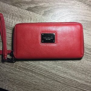 Kenneth Cole red, genuine leather wristlet/ wallet