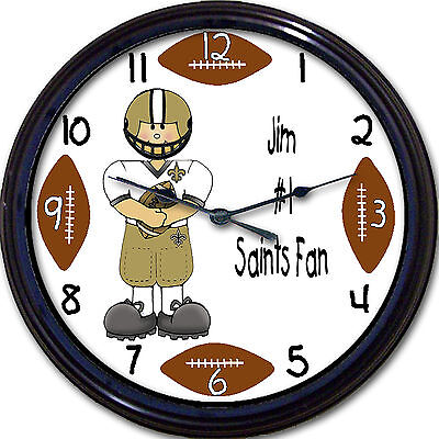 New Orleans Saints Personalized Wall Clock NFL Football Louisiana Brees Custom - Personalized Footballs