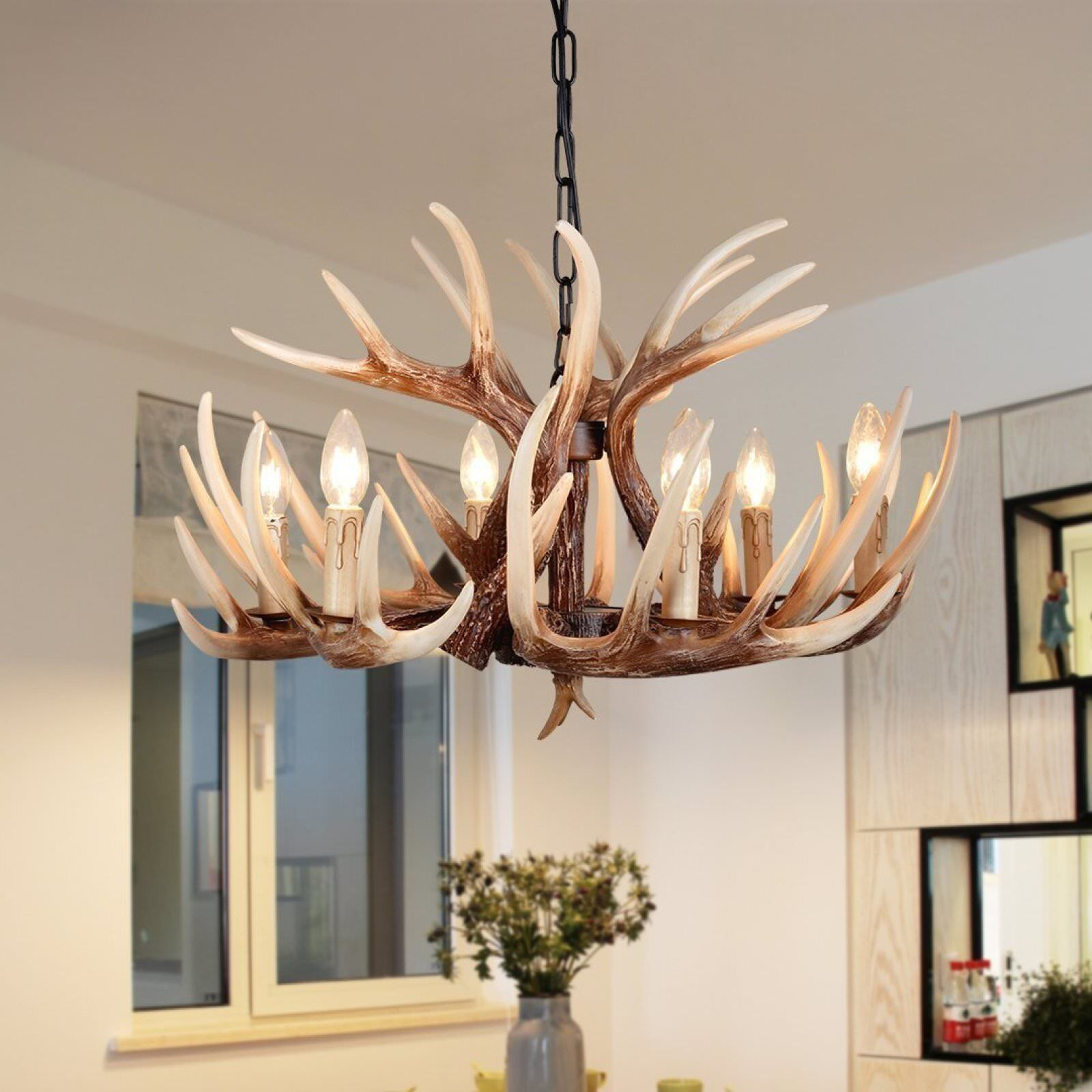 Details About Vintage Resin Antler Chandelier Deer Horn 6 Lights Retro Regular Living Room