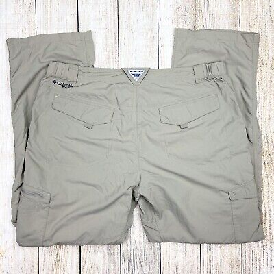 COLUMBIA Men's 40x32 Beige PFG Omni-Shade Pants, Nylon, Cargo F603