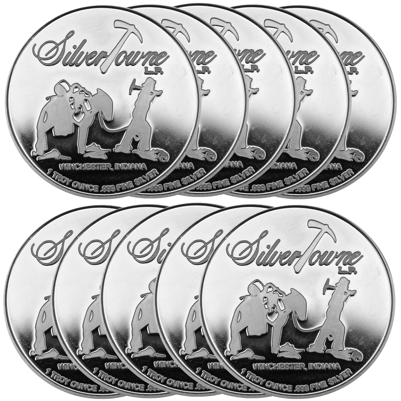 Lot Of 10 Trademark Logo Silver Rounds