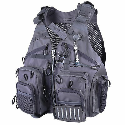 Fly Fishing Mesh Vest Adjustable Outdoor Sport Fishing Vest & Forcep & Nipper