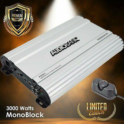 Audiobank Monoblock 3000 WATTS Amp Class AB Car Audio Stereo Amplifier P3001