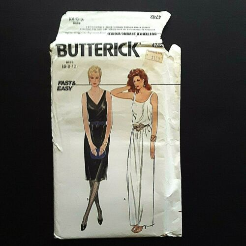 Butterick Fast & Easy 4742 80s Sizes 6 8 10 UNCUT Misses Dress Evening