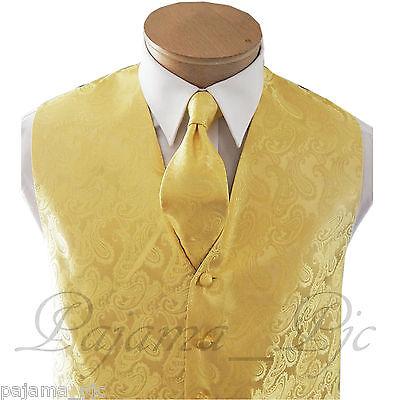 Gold Vest (MEN'S Gold XS to 6XL Paisley Dress Vest Waistcoat & and Neck tie wedding)