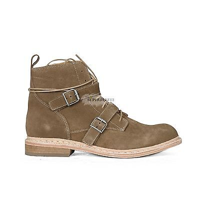 BALMAIN ZIPPED BEIGE SUEDE BELTED BOOTS FREE SHIPPING