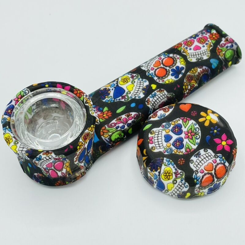 Silicone Smoking Pipe with Glass Bowl & Cap Lid   Sugar Skulls