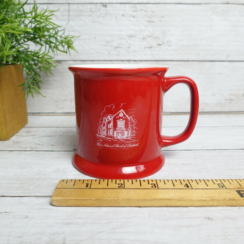 Ceramic Mug with National Bank of Litchfield logo - red and white design