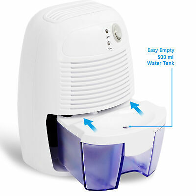 Portable Dehumidifier with Auto Shut Off Quietly Extracts Moisture Small Space