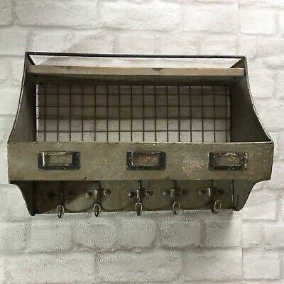 Vintage Industrial Style Metal Wall Shelf Unit Cupboard Cabinet Rack Wall Hooks