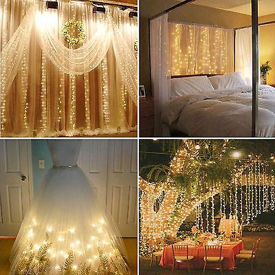 304 LED Christmas xmas String Fairy Wedding Curtain Light Warm White 9.8ftx9.8ft