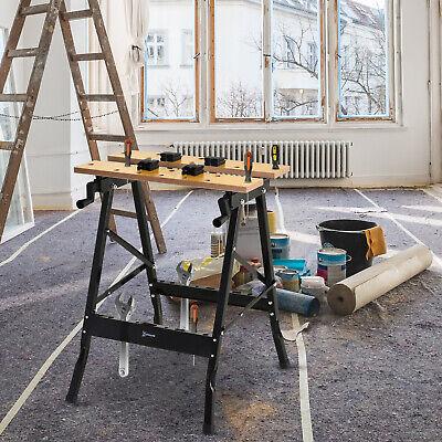 Banco de Trabajo Plegable con Abrazaderas Uso Doméstico Hierro MDF 70 kg