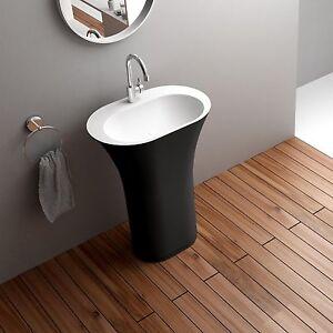 Free Standing Pedestal Sink : Free-Standing-Solid-Surface-Stone-Modern-Pedestal-Sink-25-x-17-inch-DW ...