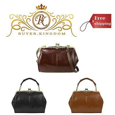 Womens Leather Purse Small Retro Vintage Kiss Lock Handbag Adjustable