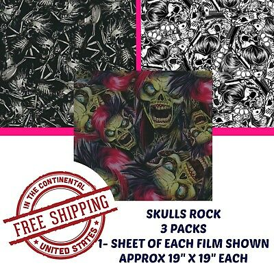 Hydrographic Water Transfer Hydro Dipping Dip Kit Hydro Film Skulls Rock 3 Pack