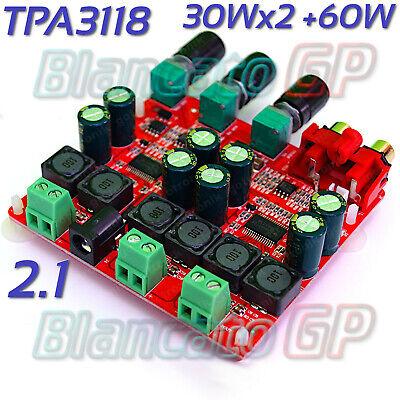 Amplificador Potencia 2.1 Con TPA3118 Estéreo + Subwoofer 30W+30W+60W 12V 24V