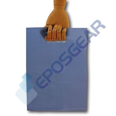 100 Small Blue Punch Out Handle Gift Fashion Party Market Plastic Carrier Bags