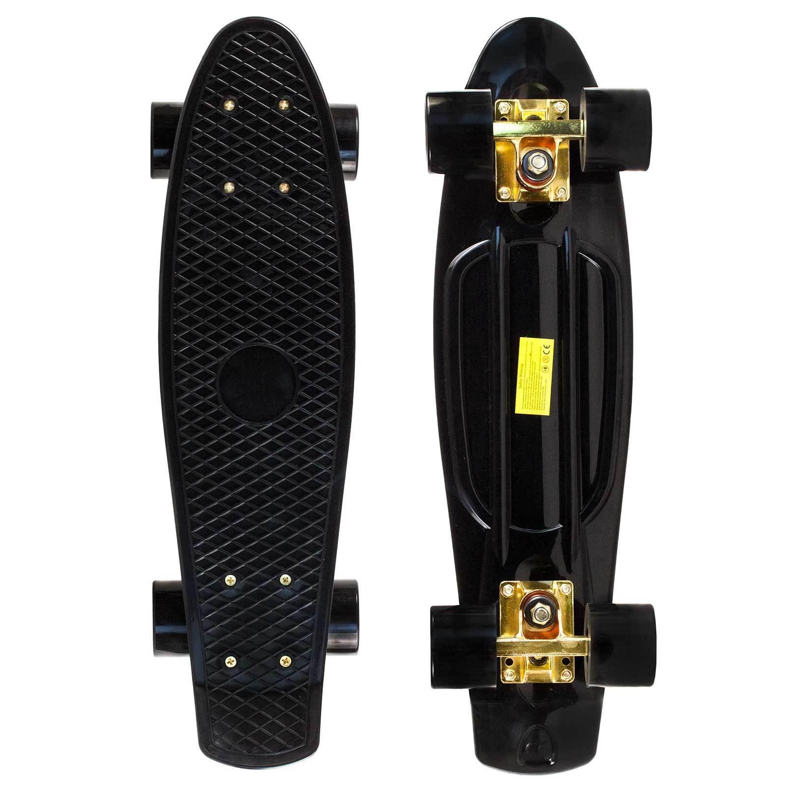 Black Gold Penny Style Cruiser Board 22 inch Retro Plastic Skateboard Complete