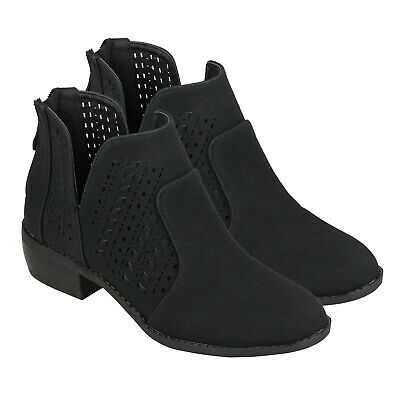 Women's Cut Out Black Ankle Boots Booties Low Block Heel Back Zip Casual Shoes Cut Out Ankle Boots