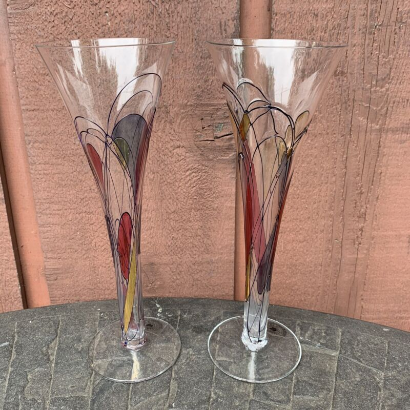 Set Of 2 Gloria Ferrer Tall Clear Champagne Flutes Hand Embossed Colors - NEW