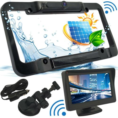 Wireless Waterproof HD Solar License Plate Rear View Backup Camera Night Vision
