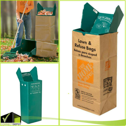 Leaf and Lawn Bag Holder Reusable Plastic Chute Easy Garden Waste Storage Open