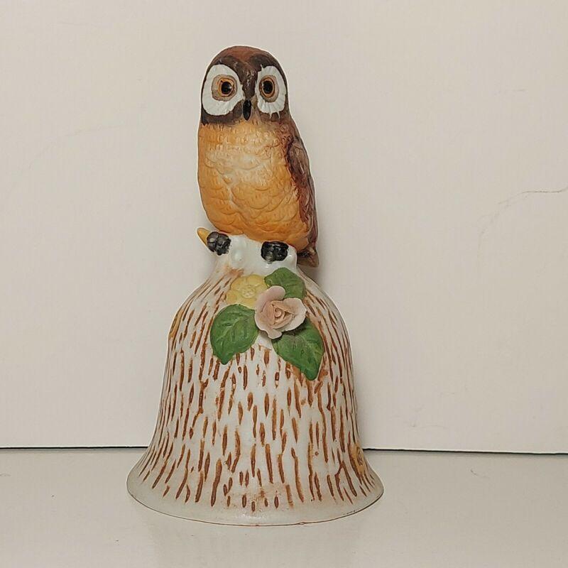 Vintage Ceramic Porcelain Owl Bell Pink Rose About Hand Painted Kmart