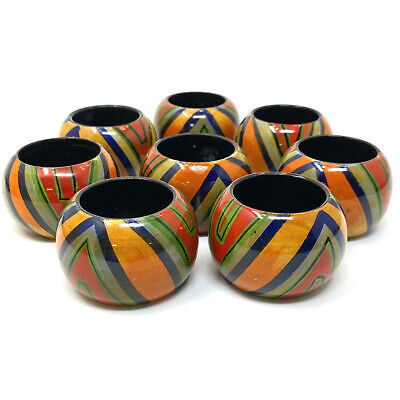 Vtg Hand Painted Colorful Geometric Lines Napkin Rings Set of 8