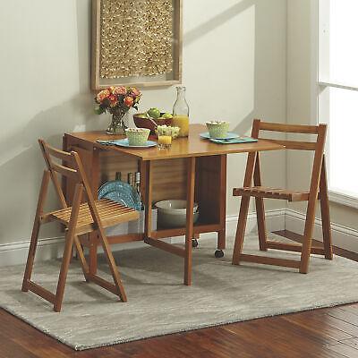 5-Pc. Space-Saving Foldable Portable Dining Set- 1 Table & 4 Chairs, Oak - Oak Dining Table Set