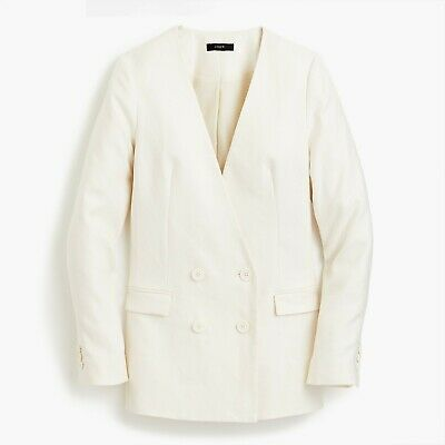 NWT J.Crew French Girl Blazer Double Breasted Jacket Ivory Linen Petite 2